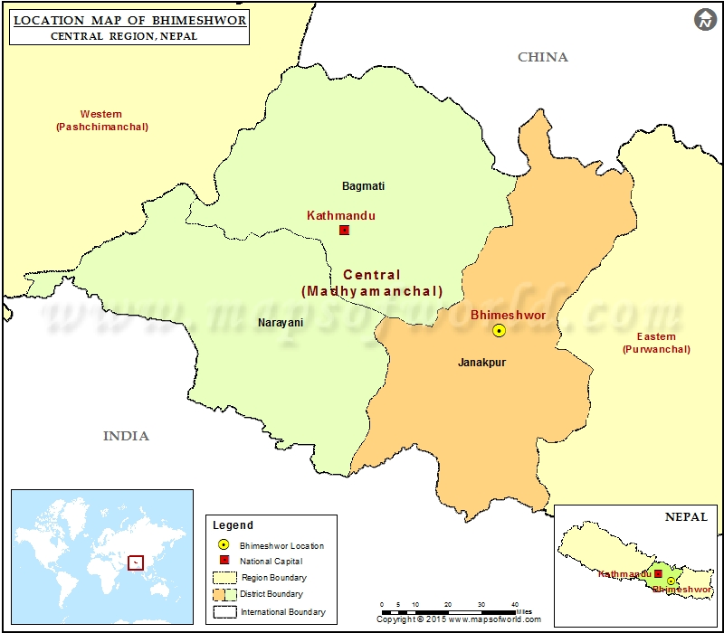 Location of Bhimeshwor  in Nepal  Map