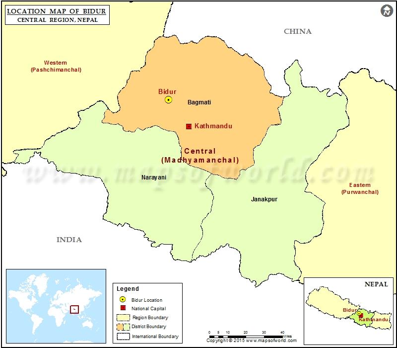 Location of Bidur in Nepal Map