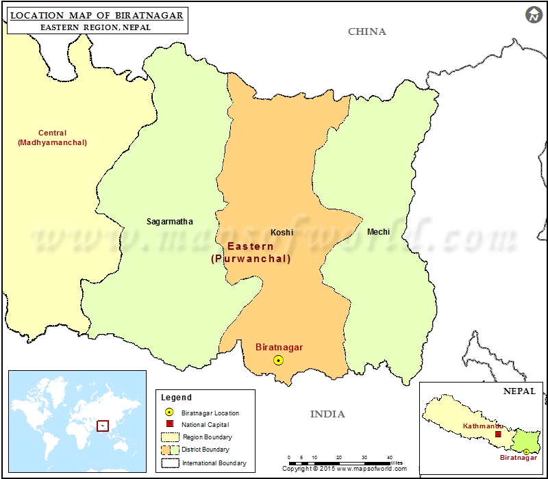 Location of Biratnagar in Nepal Map