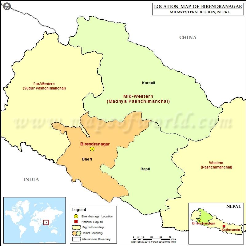 Location of Birendranagar in Nepal Map