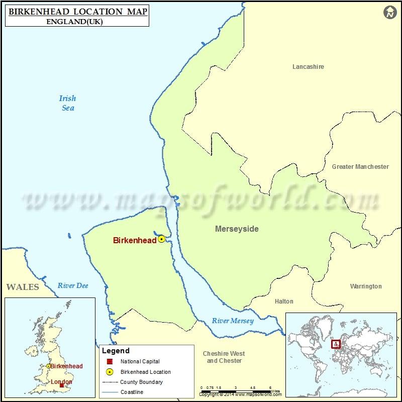 Where is Birkenhead | Location of Birkenhead in England Map