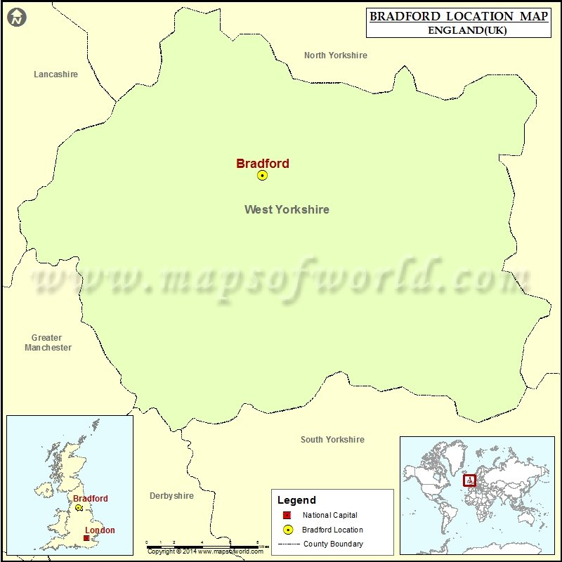 Where is Bradford Location of Bradford in England Map