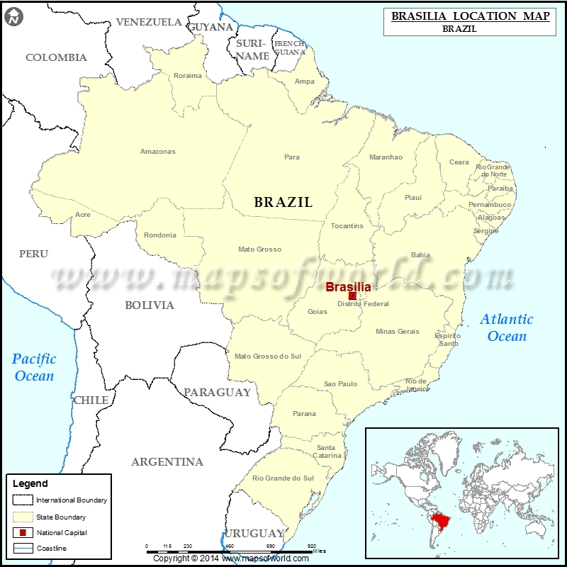Where is Brasilia Location of Brasilia in Brazil Map