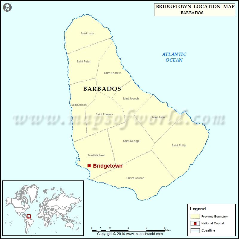 Where is Bridgetown Location of Bridgetown in Barbados Map