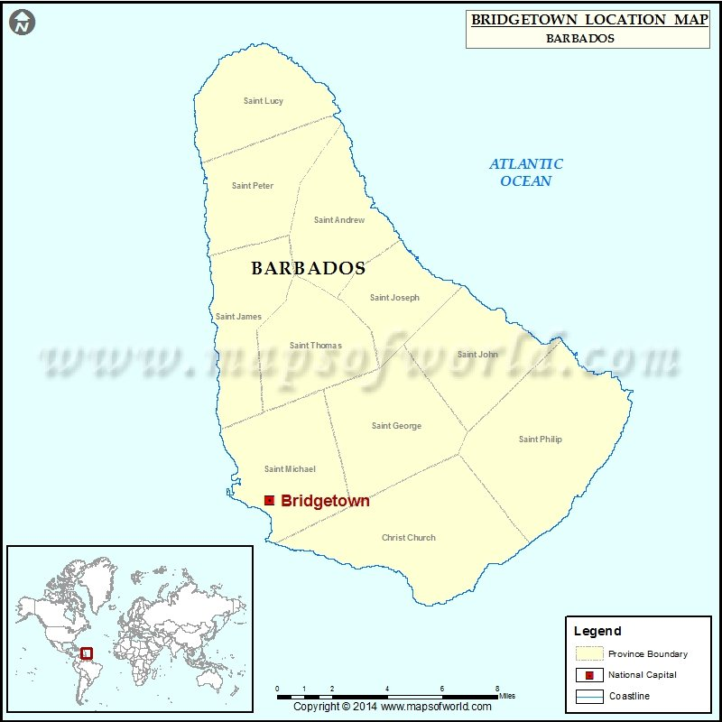 Where is Bridgetown | Location of Bridgetown in Barbados Map