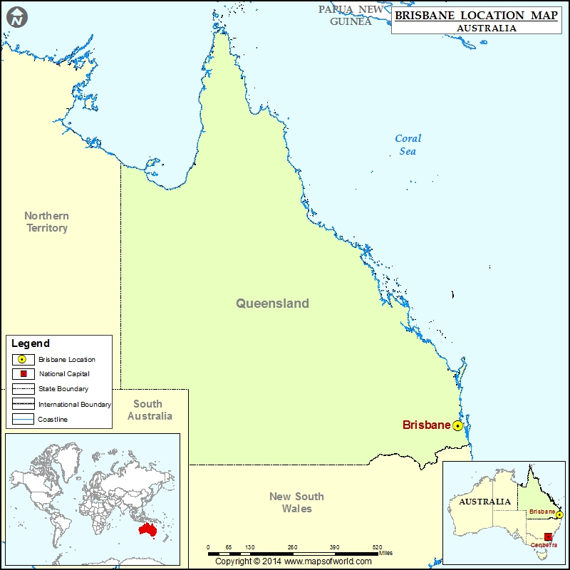 Where is Brisbane Location of Brisbane in Australia Map