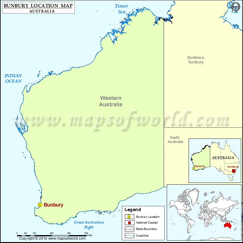 Where is Bunbury Location of Bunbury in Australia Map