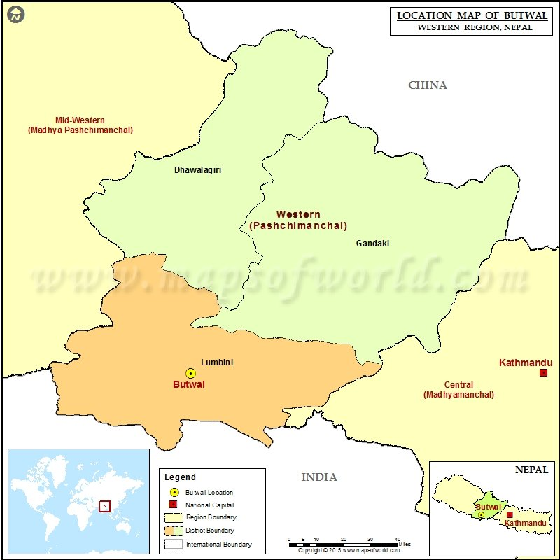 Location of Butwal in Nepal Map
