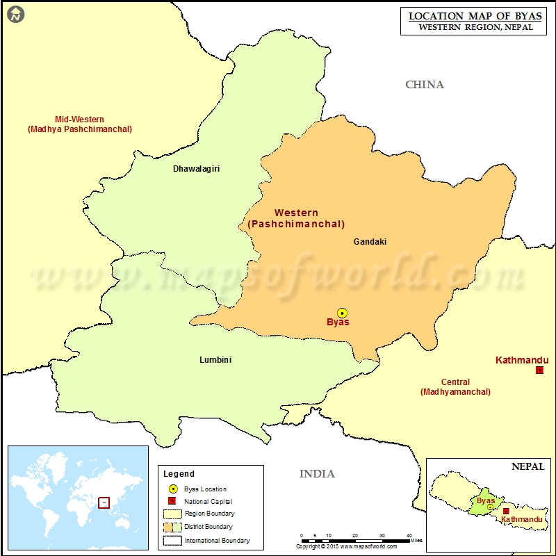 Location of Byas in Nepal Map