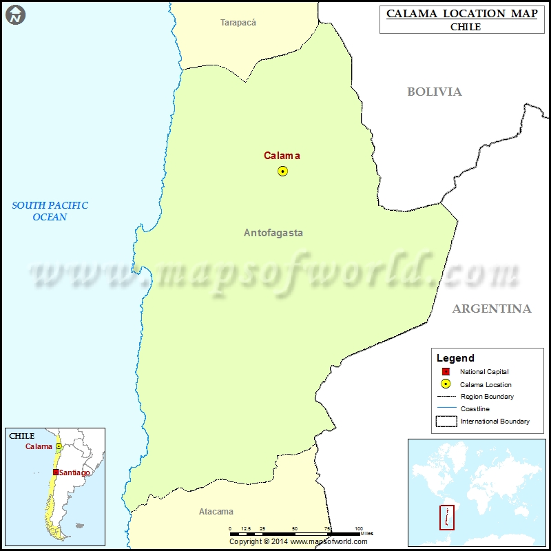 Where is Calama Location of Calama in Chile Map