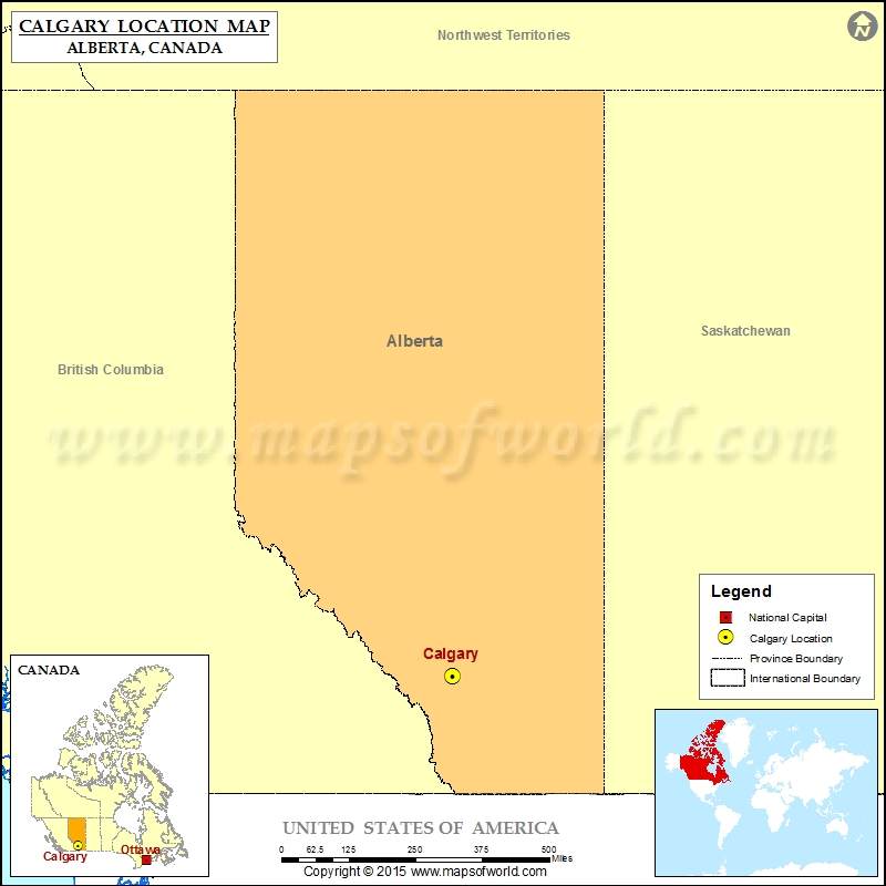 Where is Calgary Located in Canada Map
