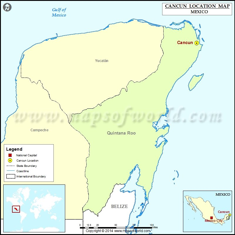 Where is Cancun Location of Cancun in Mexico Map