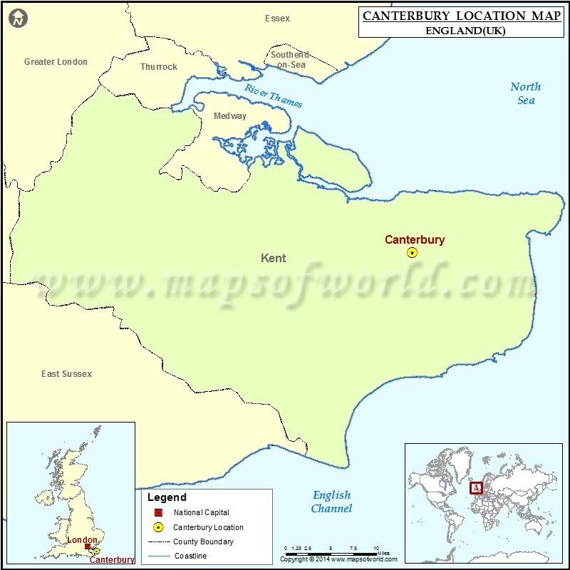 Where Is Canterbury Location Of Canterbury In England Map