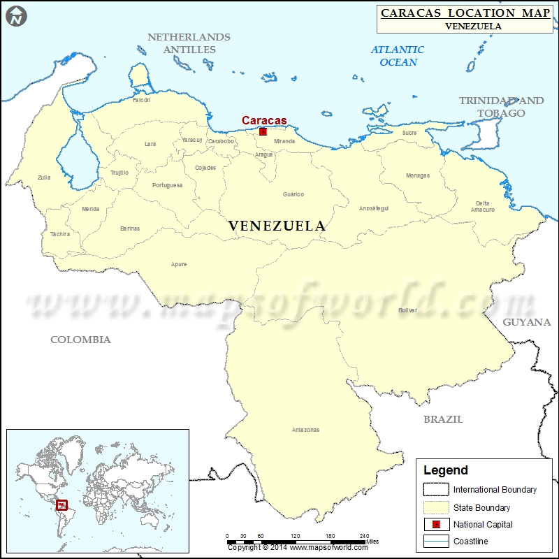 Where Is Caracas Location Of Caracas In Venezuela Map