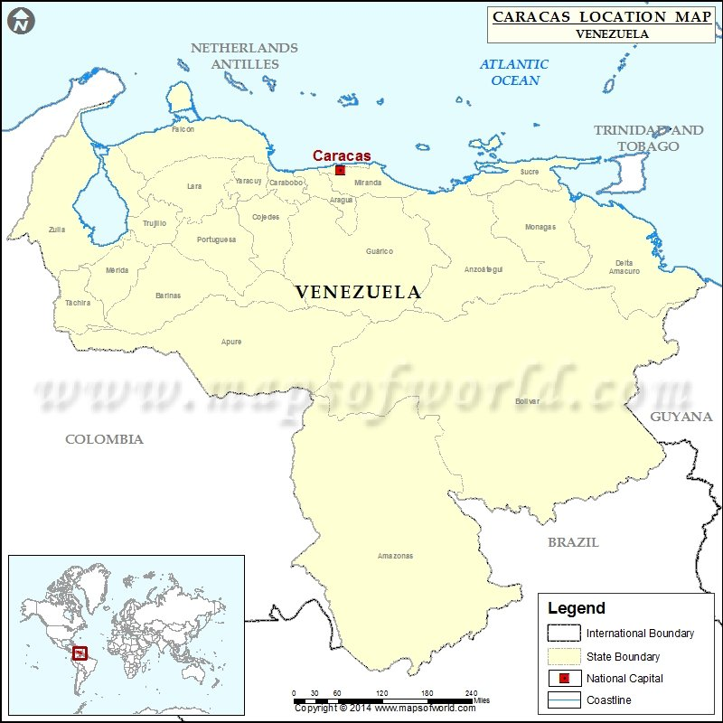 Where is Caracas | Location of Caracas in Venezuela Map