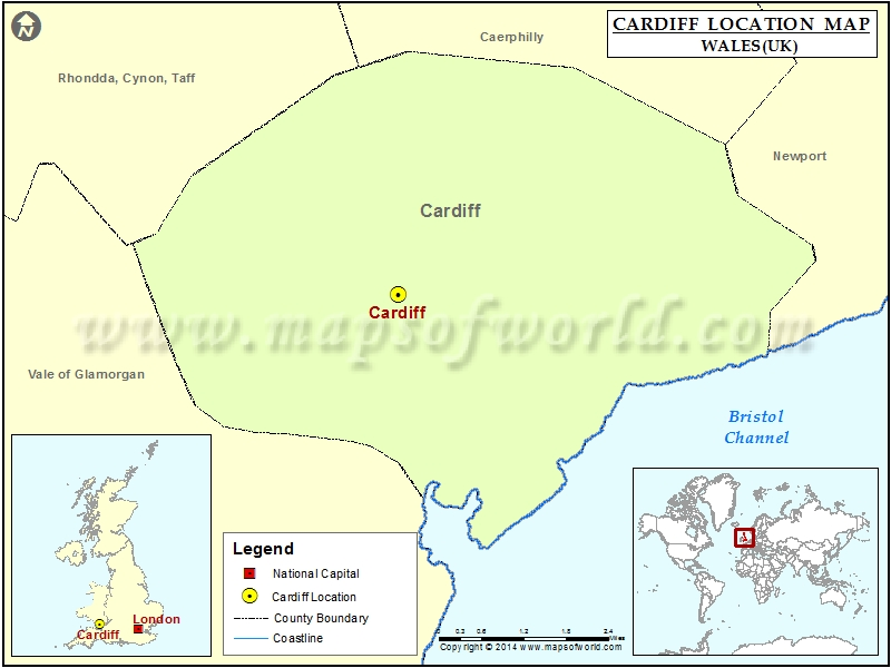 Where is Cardiff | Location of Cardiff in Wales Map