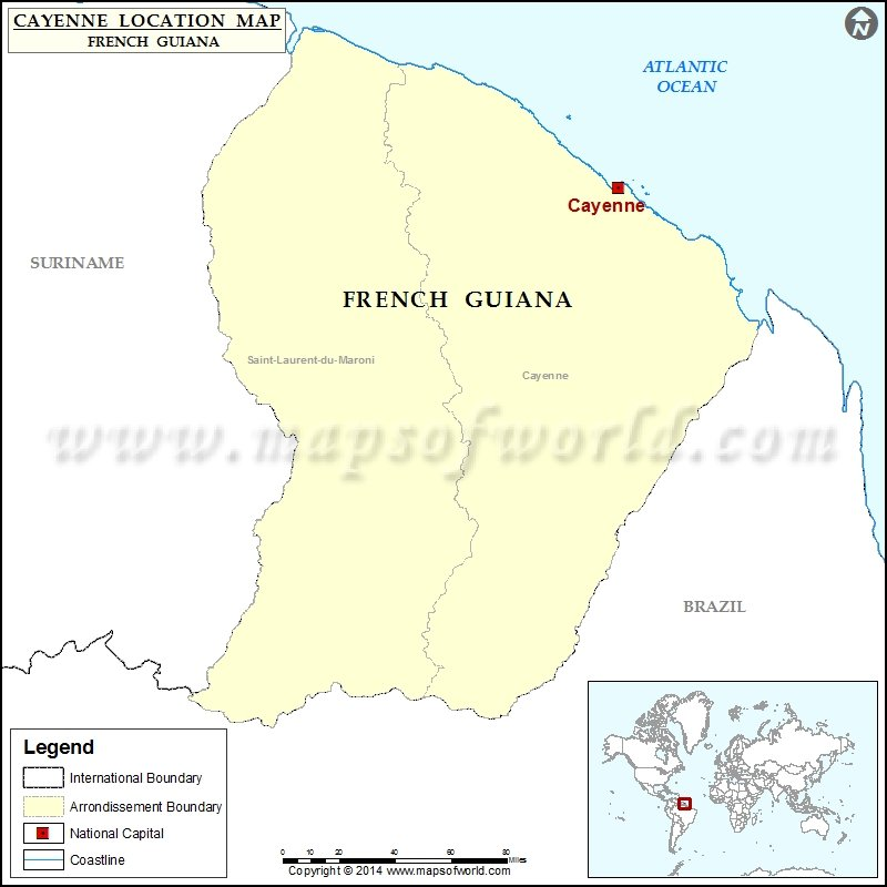 Where is Cayenne Location of Cayenne in French Guiana Map
