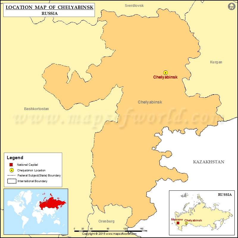 Where is Chelyabinsk Location of Chelyabinsk in Russia Map