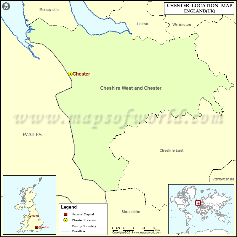 Where Is Chester Location Of Chester In England Map