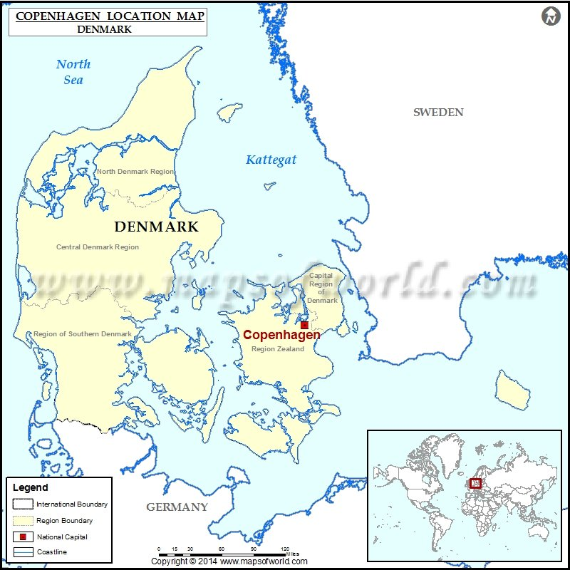 Where is Copenhagen Location of Copenhagen in Denmark Map