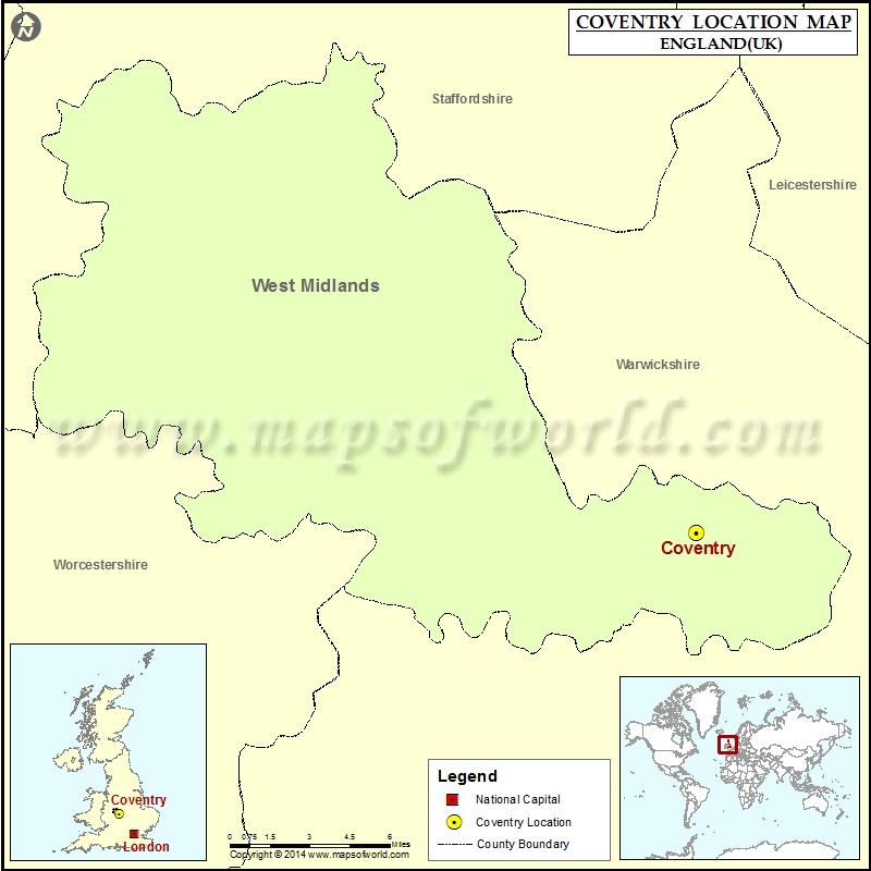 Where is Coventry Location of Coventry in England Map