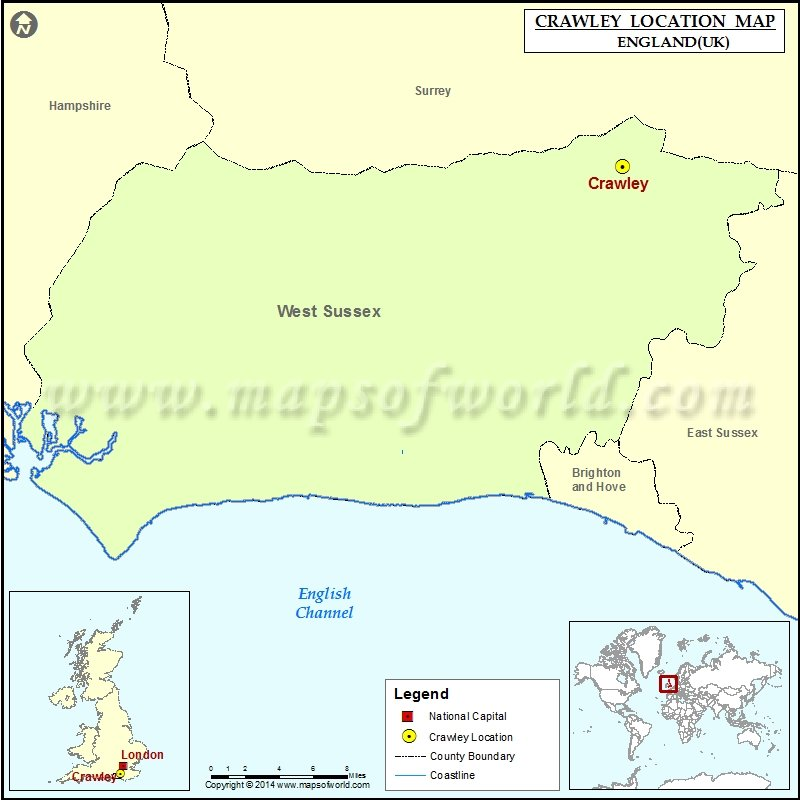 Where is Crawley Location of Crawley in England Map