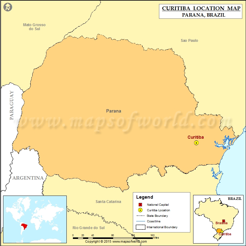 Where is Curitiba Location of Curitiba in Brazil Map