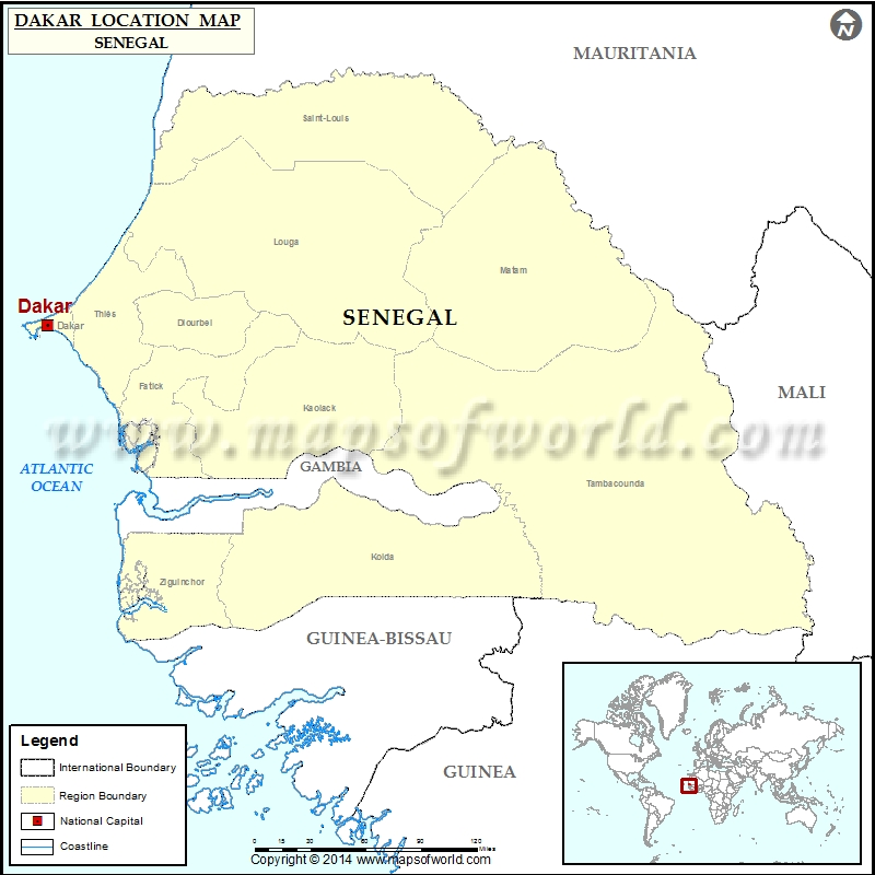 Where Is Dakar Location Of Dakar In Senegal Map