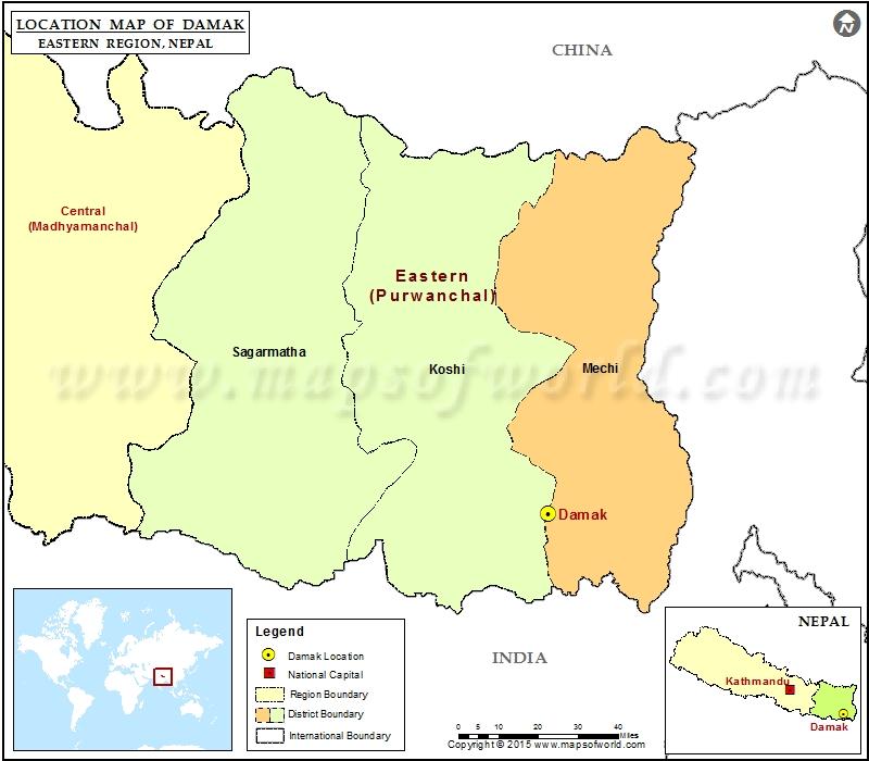 Location of Damak in Nepal Map