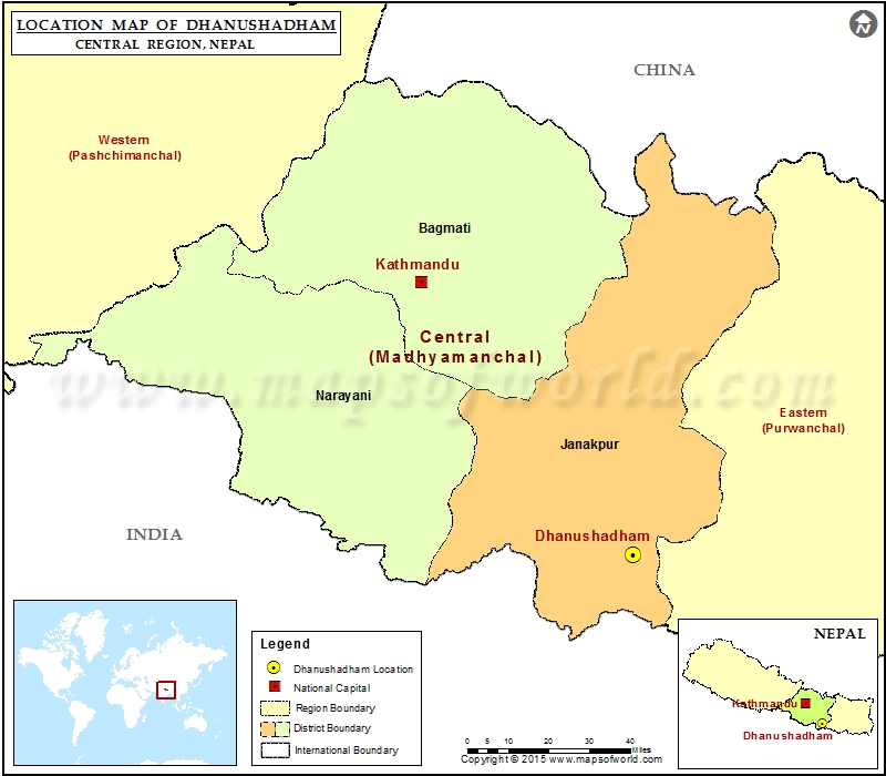 Location of Dhanushadham  in Nepal  Map