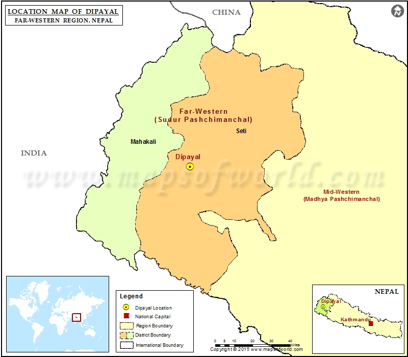 Location of Dipayal in Nepal Map