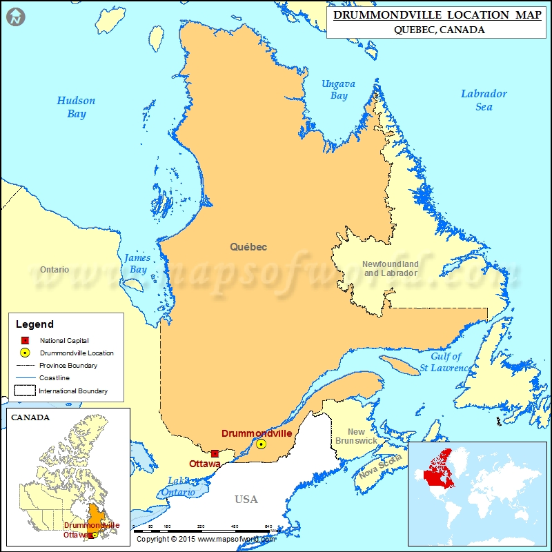Where is Drummondville Located in Canada Map