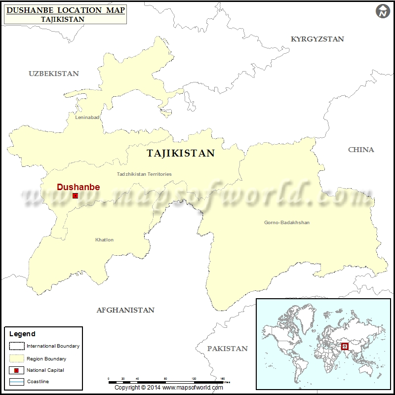 Where is Dushanbe Location of Dushanbe in Tajikistan Map