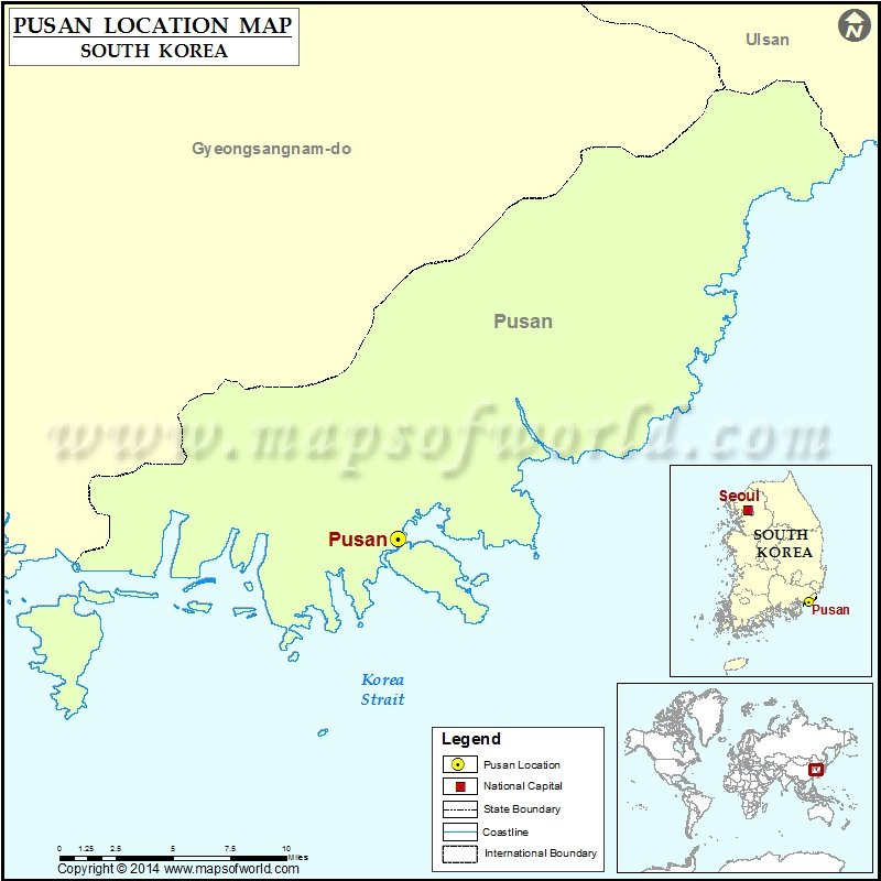 Location Of Pusan In South Korea Map