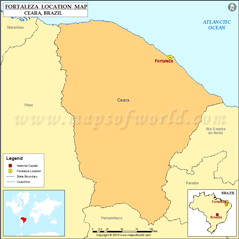 Where is Fortaleza Location of Fortaleza in Brazil Map
