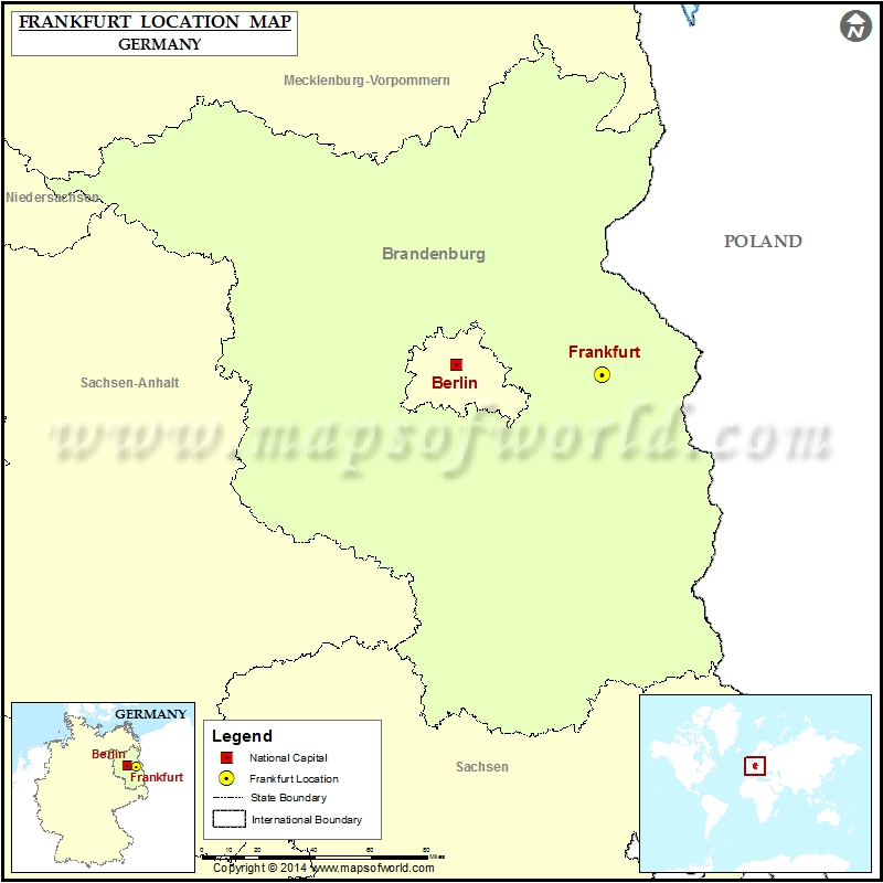 Where is Frankfurt | Location of Frankfurt in Germany Map
