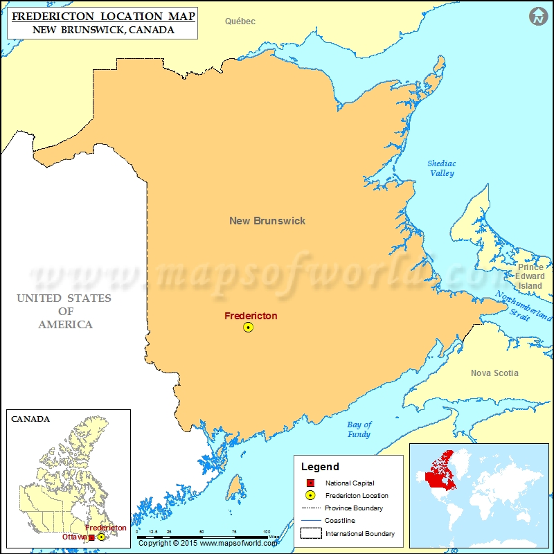 Where is Fredericton Located in Canada Map