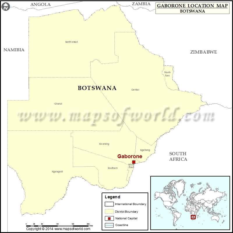 Where is Gaborone Location of Gaborone in Botswana Map