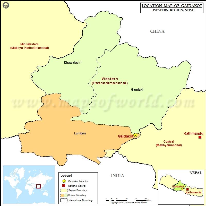 Location of Gaidakot in Nepal Map
