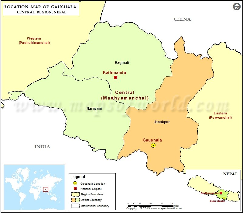 Location of Gaushala  in Nepal  Map