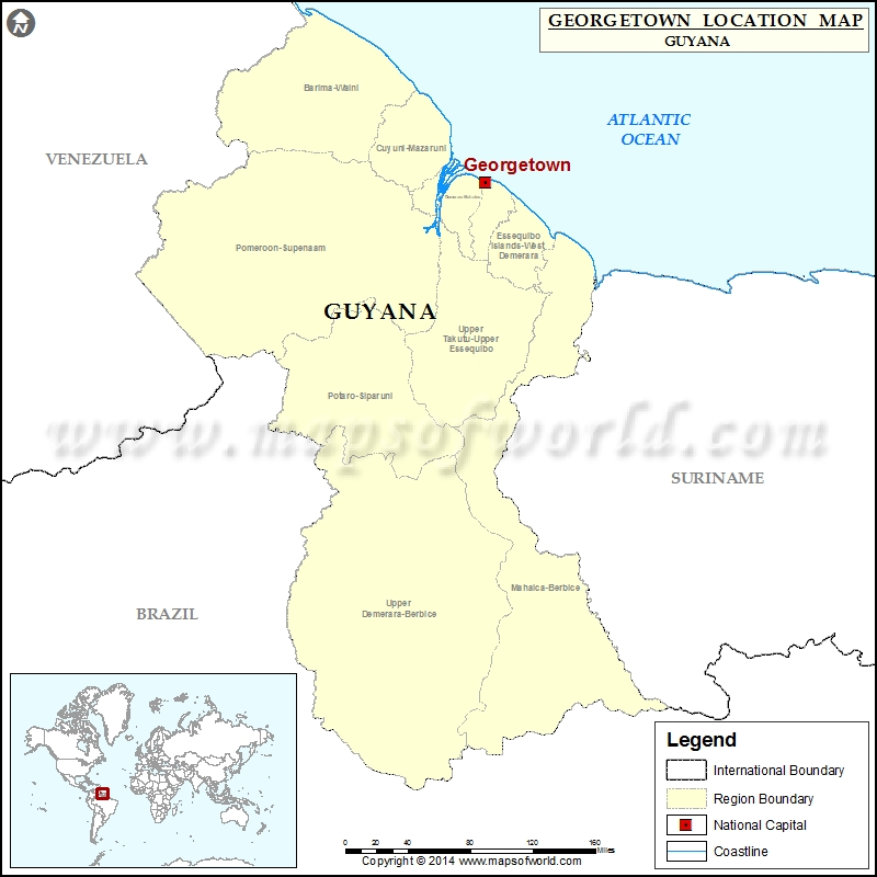 Where is Georgetown Location of Georgetown in Guyana Map