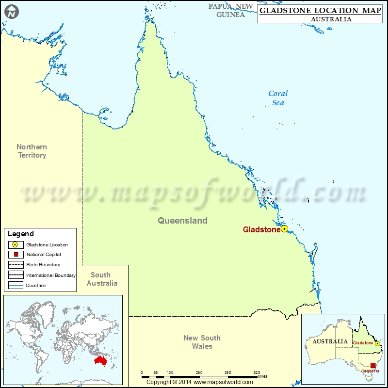 Where is Gladstone Location of Gladstone in Australia Map