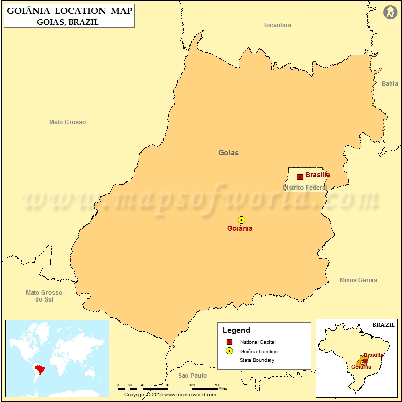 Where is Goiania Location of Goiania in Brazil Map
