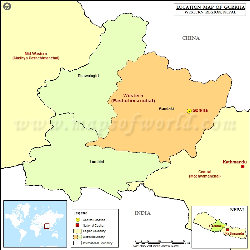 Location of Gorkha in Nepal Map