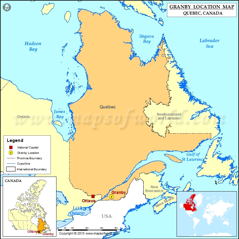 Map Of Canada James Bay.Where Is Granby Located In Canada Map