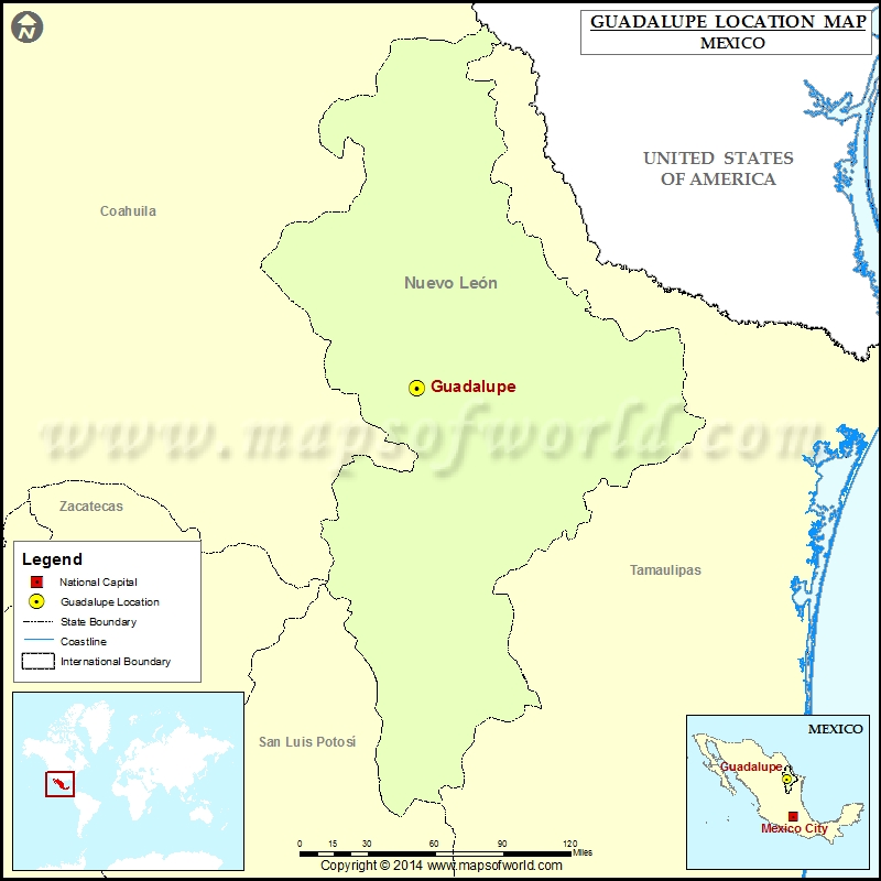 Where is Guadalupe | Location of Guadalupe in Mexico Map