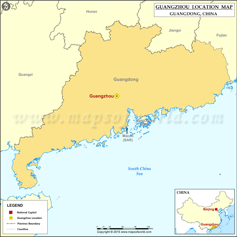 Where is Guangzhou Located, Location of Guangzhou in China Map