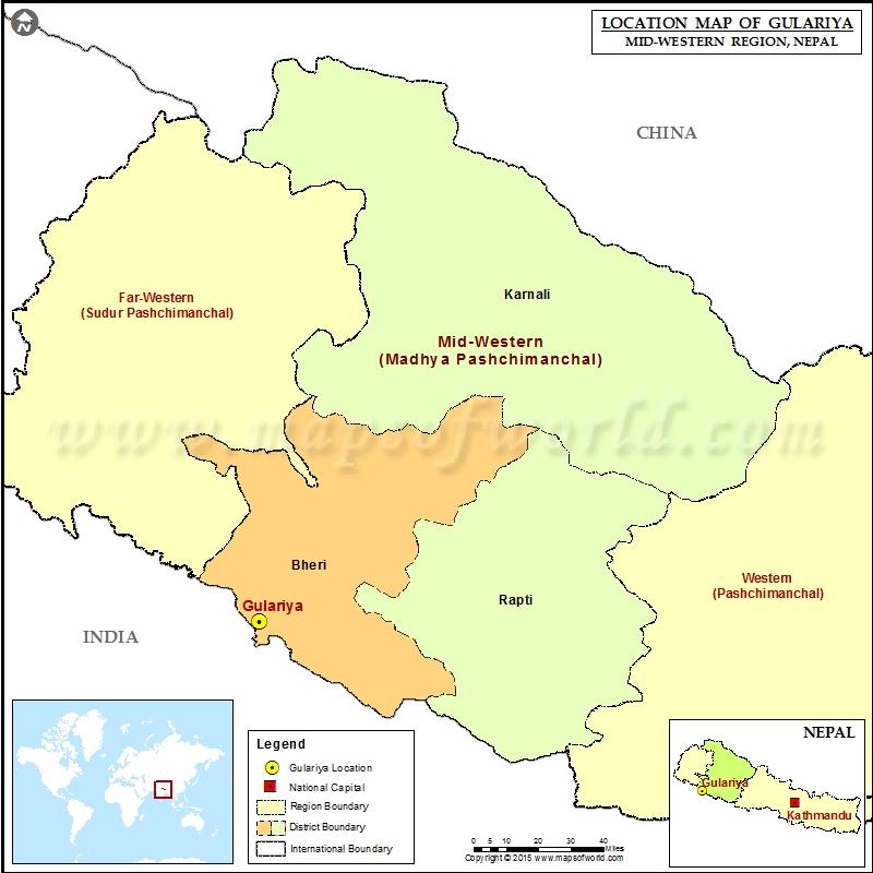 Location of Gulariya in Nepal Map