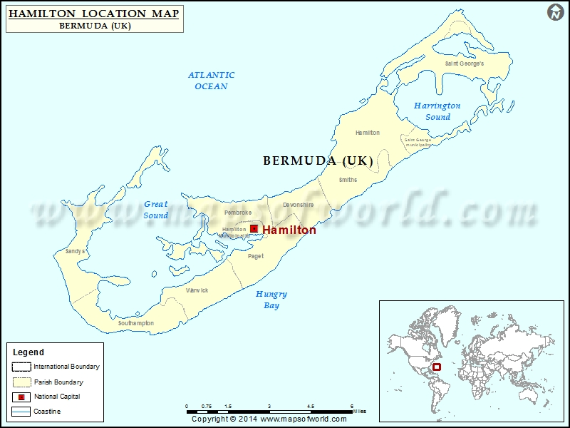 Where is Hamilton Location of Hamilton in Bermuda Map