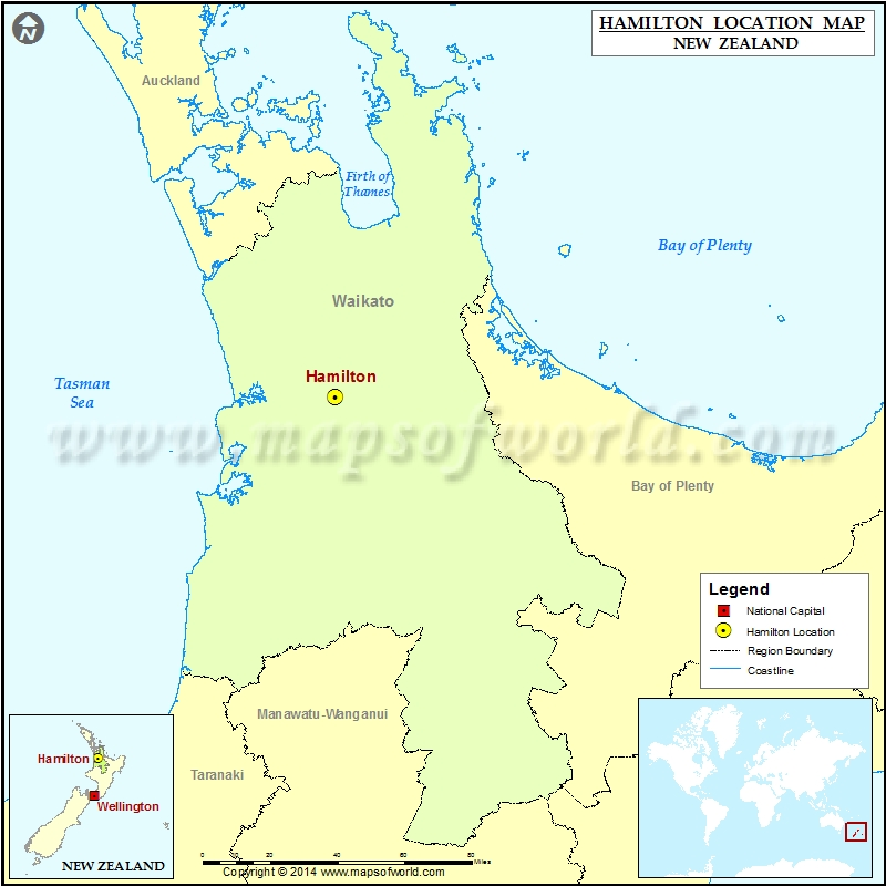 Hamilton New Zealand Map.Where Is Hamilton Location Of Hamilton In New Zealand Map